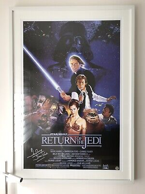 Star Wars Signed Poster Return Of The Jedi Davi Prowse Darth Vader Coa-Autograph