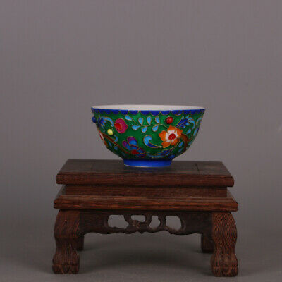 China antique Porcelain Ming chenghua colour enamel inlay gemstone cup bowl