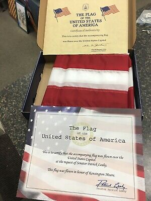 US Flag Flown Over Capitol Certificate Signed Patrick Leahy Democrat