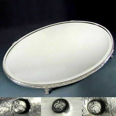 Antique French .800 Silver Vanity Table Mirror Plateau Tray Beveled Glass