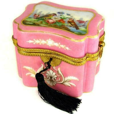 Antique French Opaline Glass Box Casket Hand Painted Birds Gilt Bronze Ormolu