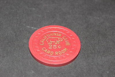 Rare California Club 25 Cent Casino Chip Excellent Rated Q