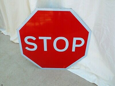 Genuine Retired Large Red STOP  Sign old  roadsign  Man Cave.