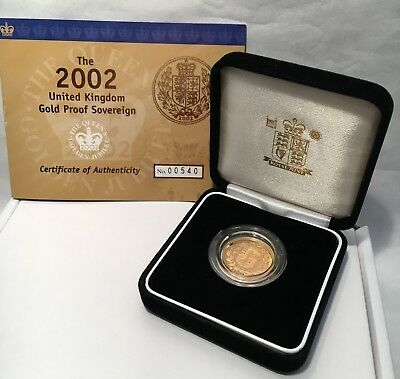 The 2002 UK 22 K Gold Proof Sovereign - 7.98 gms - with Royal Arms on Reverse