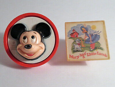 2 VTG NIGHT NITE LITES WDP MICKEY MOUSE NURSERY RHYME MARY LITTLE LAMB WORKS 60s