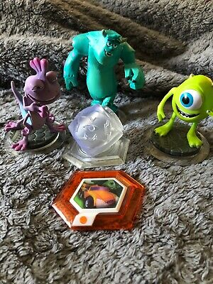 Disney Infinity Monsters Inc Figures Sully Mike & Randall & Crystal Playset Disc