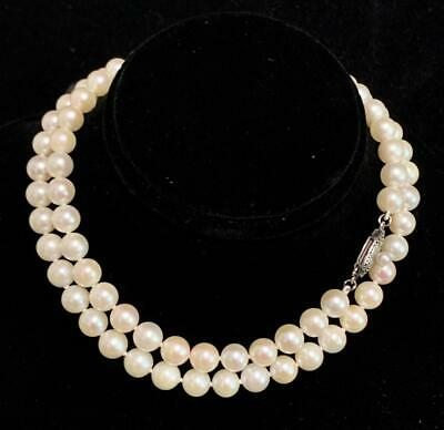 Authentic Mikimoto Vintage 19.5 in 6.5 mm  Akoya Pearl Silver Necklace SFLA-102