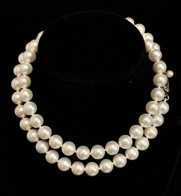 Authentic Mikimoto Vintage 17 in 6.5 mm  Akoya Pearl Silver Necklace SFLA-103