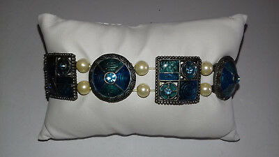 Kn Bracelet - Indian style jewellery - costume, blue, aqua