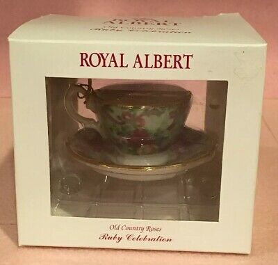 Royal Albert Ruby Old Country Roses Green Chintz Tea Cup and Saucer Ornament NIB