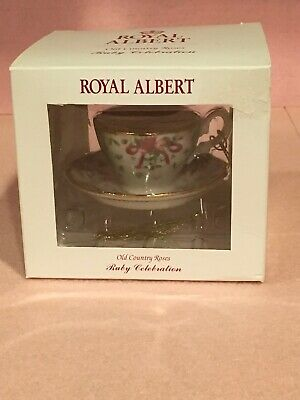 Royal Albert Ruby Old Country Roses Green Damask Tea Cup and Saucer Ornament NIB