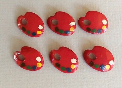 6 Small Weeber Realistic Paint Palette Celluloid Buttons In Red