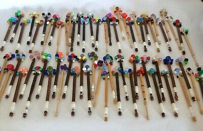Large Collection of Lace Making Bobbins - Fab Spangles - Qty 65