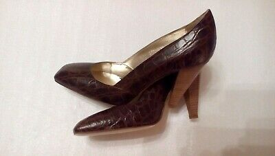 """Sz 4 Vero Cuoio Angie V Brown Pattern Leather stiletto 3.5"""" court shoes Quality"""