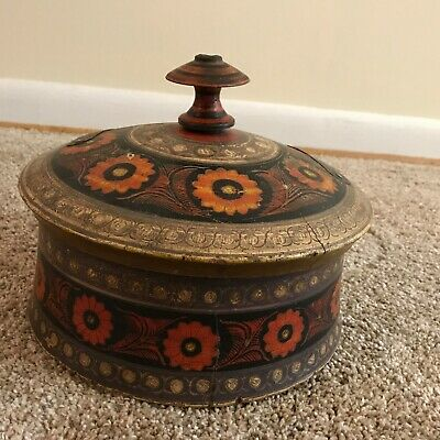 Antique Middle Eastern / Afghan? Hand Painted Wooden Spice Box
