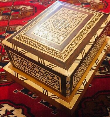 Antique Handmade Wood Musical Cigarette Box Inlaid Mother of Pearl