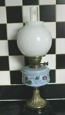 Victorian Opaque blue flower enameled oil lamp , converted, brass  & glass base