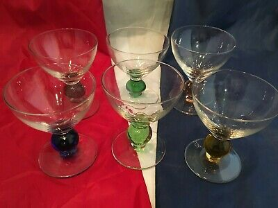 "Martini Glasses with Colorful Ball on Stem - Short Stems 4"" tall - Set Of 6"