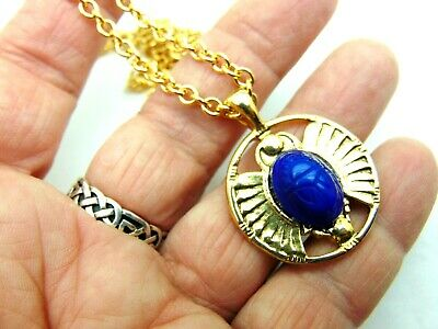 Vintage Scarab Egyptian Revival Necklace Pendant Old German Glass DazzleCity