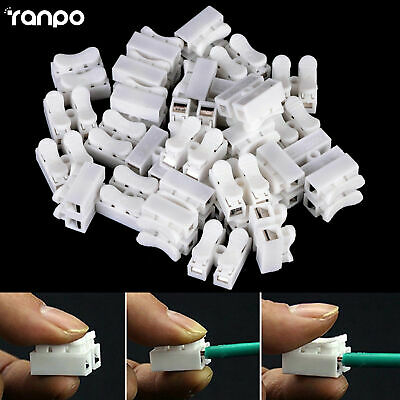 20X Splice Lock Wire Connectors 2Pins Electrical Cable Terminal for 0.5-1.5 Wire