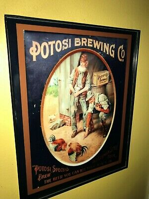 Potosi Wisconsin Girl Beer Bar Framed Advertising Print Man Cave Sign2