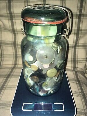 Large 2+ Pound Lot Of Mixed Vtg Plastic/Metal Sewing Craft Buttons & Blue Jar