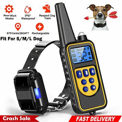 Dog Pet Electric Shock Training Collar Waterproof Rechargeable 875 Yard Remote