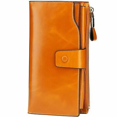 Itslife Women's RFID Blocking Large Capacity Luxury Wax Genuine Leather Cluth