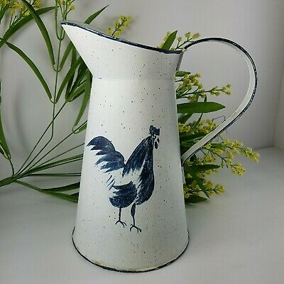 """French Country Farmhouse Decor Metal Pitcher Rooster Chicken White Blue 11"""""""