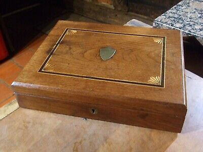 ANTIQUE OAK INLAID JEWELLERY/COLLECTORS BOX great colour