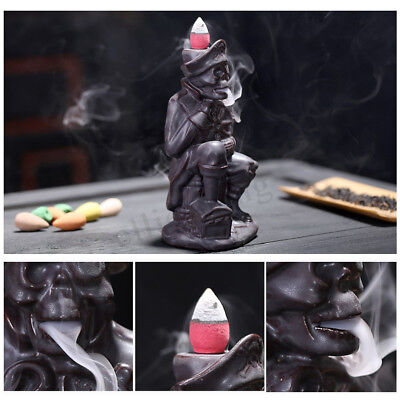 AU Pirate Ceramic Backflow Incense Burner Smoke Cones Holder Sticks Censer Clay