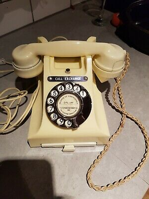 GPO Bakelite 312F Ivory Colour Rotary Dial Telephone 1954 Vintage Phone