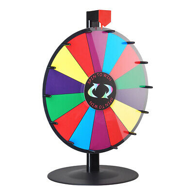 """Hot 24"""" Prize Wheel Color Dry Erase Fortune Spinning Tabletop Win Party Game UK"""