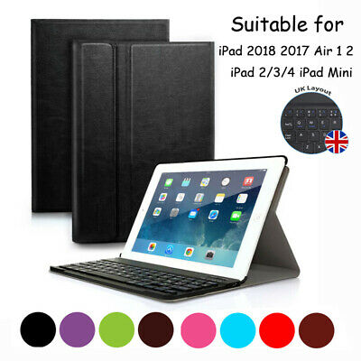 "UK iPad 6th Gen 2018 9.7"" Wireless Bluetooth Keyboard & Leather Stand Cover Case"