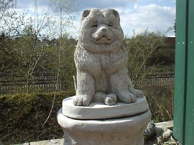 Large Sitting Stone Chow Chow Puppy Statue