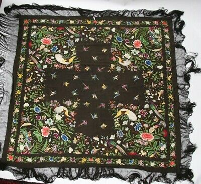 Exquisite Antique Canton Chinese Embroidered Silk Piano Shawl c. 1860