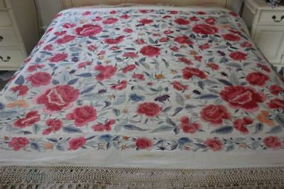 Stunning Large Antique Chinese Embroidered Silk Piano Shawl