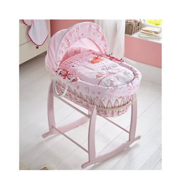 New Clair de lune pink wicker moses basket Tippy toes with deluxe rocking stand