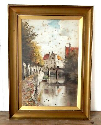 Antique Victorian Water Colour Painting Gilt Frame - Continental Scene