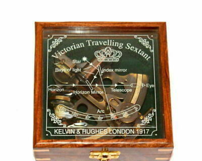 Marine Collectible Brass Working Vintage German Nautical Sextant With Wooden Box