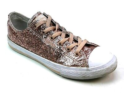 394783193bdc Kids Junior Converse All Star Ox Pink Glitter Skater Pumps Trainers Uk Size  4