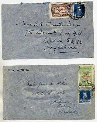 Argentina 1931 & 1933 Pair Of Commercial Covers To Uk With Revolution Anniv Vals
