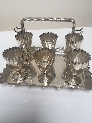 Antique Victorian Hallmarked Silver Plate 6 Piece Breakfast Egg Cup Cruet Stand