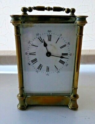 Vintage Brass Depose AB Key Winding Mechanical Carriage / Mantel Clock