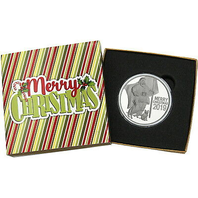 2019 Merry Christmas Patriotic Santa Claus & Animals 1oz .999 Silver Medallion