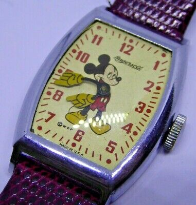Vintage 1940s INGERSOLL WDP USA Made Mickey Mouse Mechanical Wristwatch