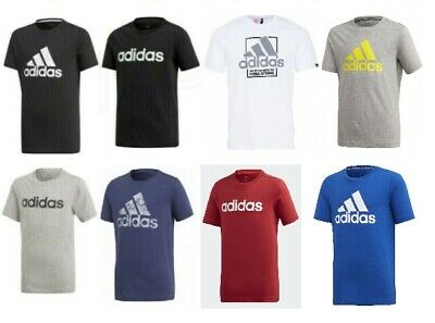 Adidas Boys Junior Kids Jr Cotton Crew Casual Sports T Shirt Top Age 5-15