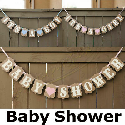 Personalised Baby Shower BANNER boy girl pink blue lilac decorations bunting UK