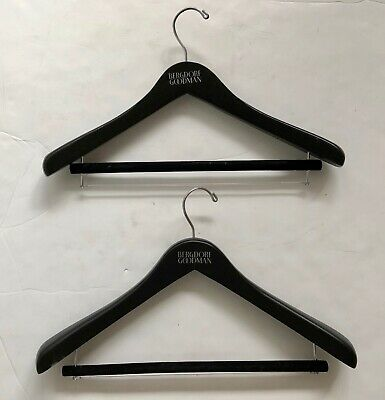 "2 Heavy Bergdorf Goodman Coat Jacket Suit Wood Pants Hangers 17-3/4"" x 7-1/2"""