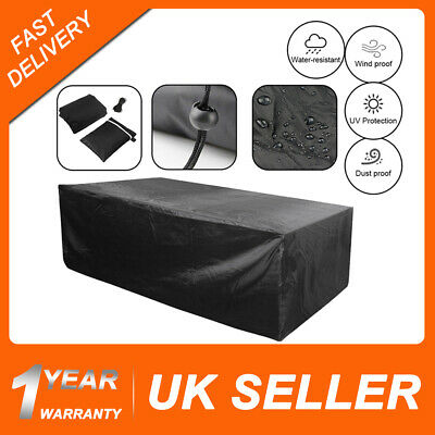 Extra Large Waterproof Garden Furniture Cover Rattan Table Cube Outdoor Black UK